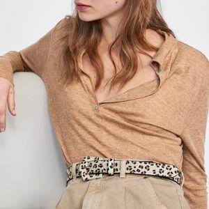 NWT Zara Animal Print Leather Belt